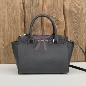 Michael Kors Selma Medium Satchel Black/Silver Torebka